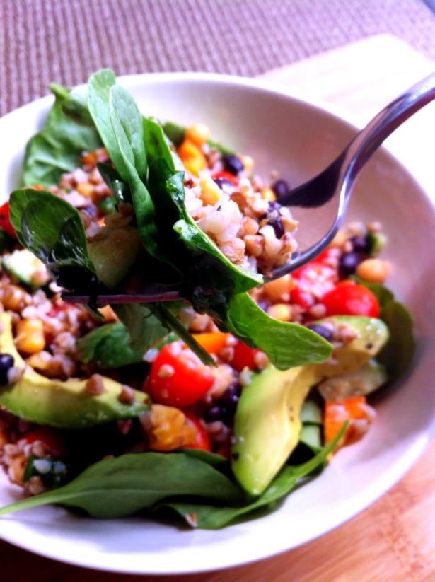 Buckwheat Bean Salad on Spinach
